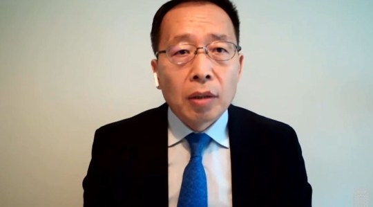 Huawei vice president Victor Zhang gives evidence to the Science and Technology Select Committee via videolink on the subject of UK telecommunications infrastructure (Credits: PA)