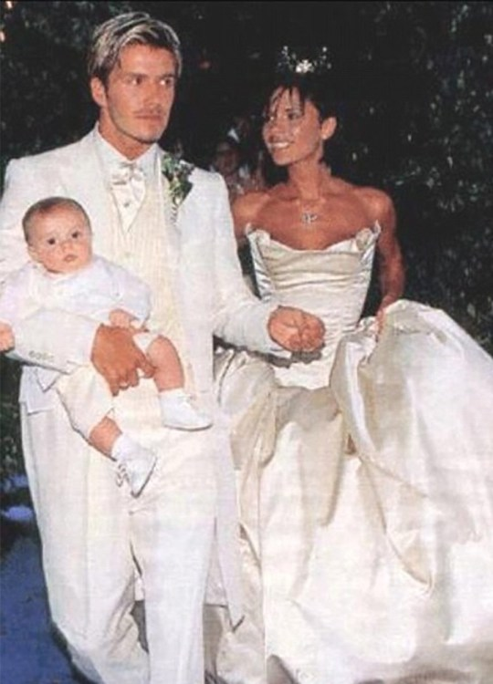 David and Victoria Beckham with son Brooklyn