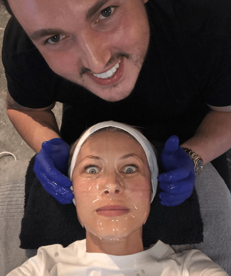 Shane Cooper pictured treating Emma Willis to facial