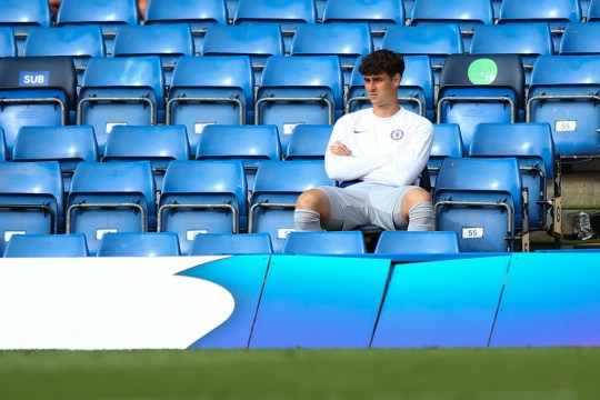 Kepa looks on during Chelsea's Premier League clash with Wolves