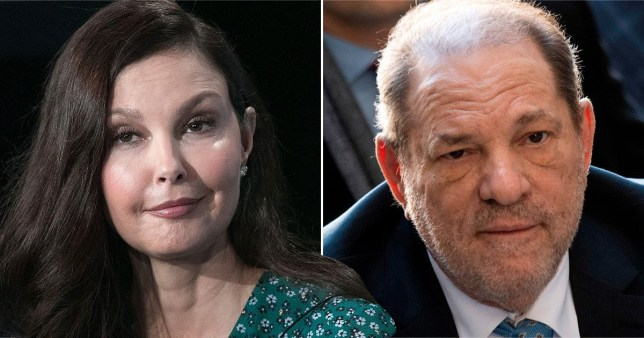 Ashley Judd pictured separately alongside Harvey Weinstein