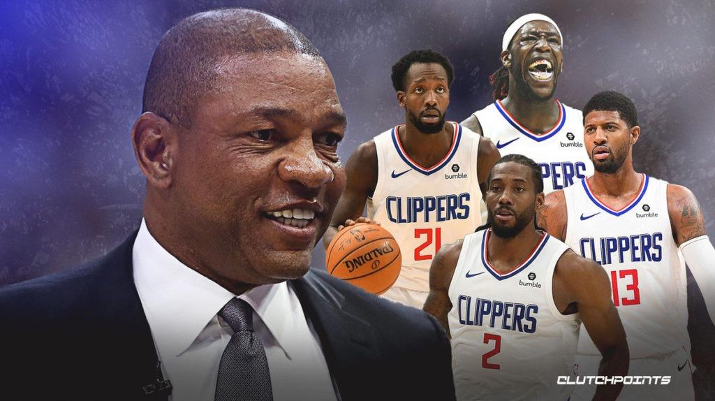 Doc Rivers, Patrick Beverley, Kawhi Leonard, Paul George, Montrezl Harrell, Clippers