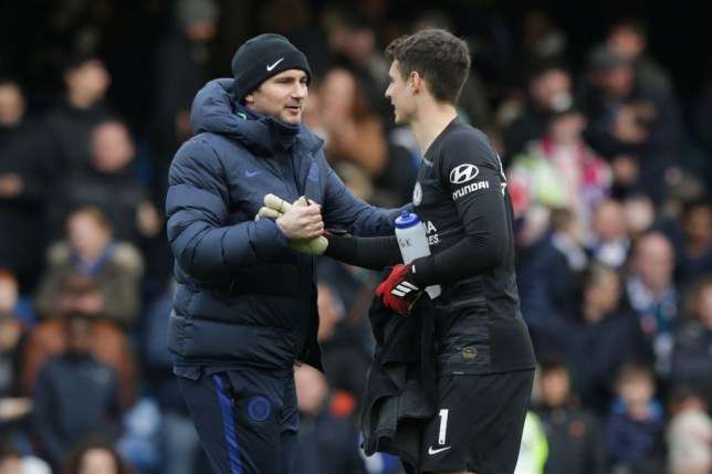 Frank Lampard and Kepa Arrizabalaga after Chelsea's Premier League clash with Everton
