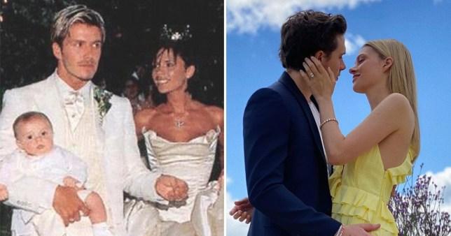 David and Victoria Beckham; Brooklyn Beckham and Nicola Peltz