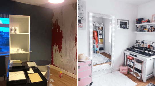Dressing room before and after