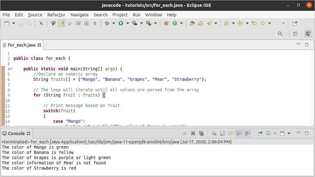 Loop Java – Linux hint
