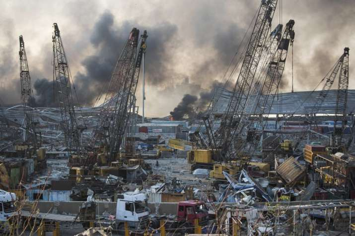 India Tv - Smoke rises in the aftermath of a massive explosion in Beirut, Lebanon, Tuesday, Aug. 4, 2020. (AP P