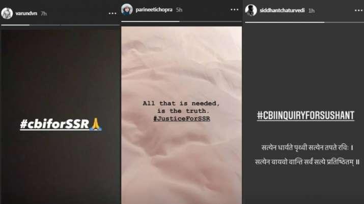 India Tv - Varun Dhawan, Parineeti Chopra, Bollywood celebrities demand CBI probe for SSR