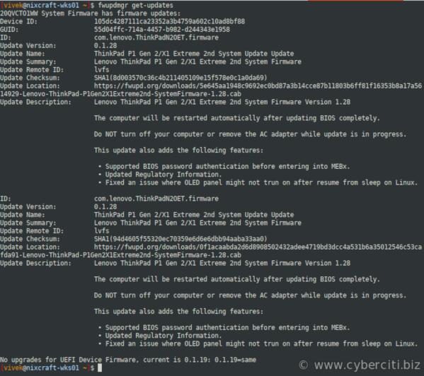 Thinkpad update Linux firmware (X1 extreme / P1 gene2)