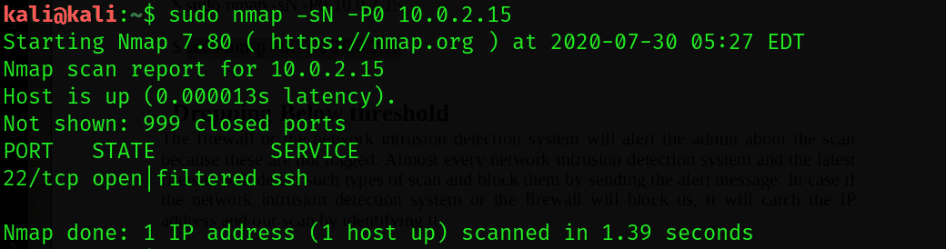 Stealth scans performed with Nmap-Linux Hint