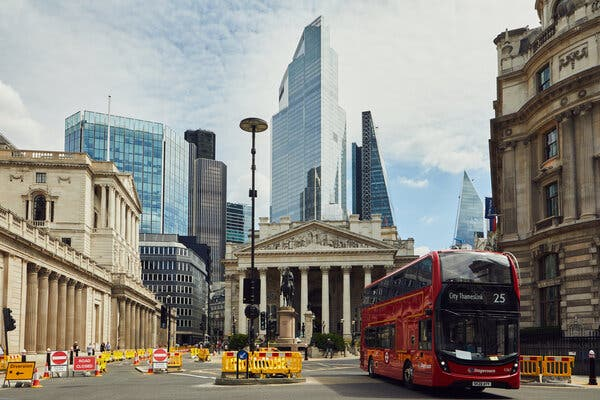 The Bank area in London last month. The government is now encouraging workers to return to offices.