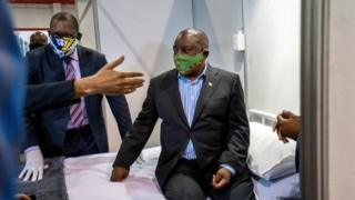 South African President Cyril Ramaphosa visits the Covid-19 treatment facilities
