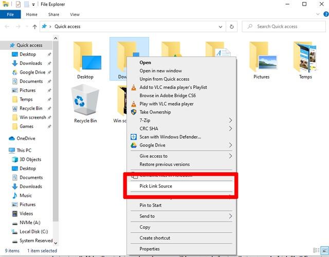 Create Symlink Windows 10 Pick Link Source