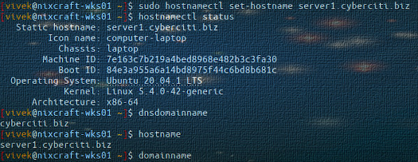 How to set / change FQDN to Ubuntu 20.04 Linux
