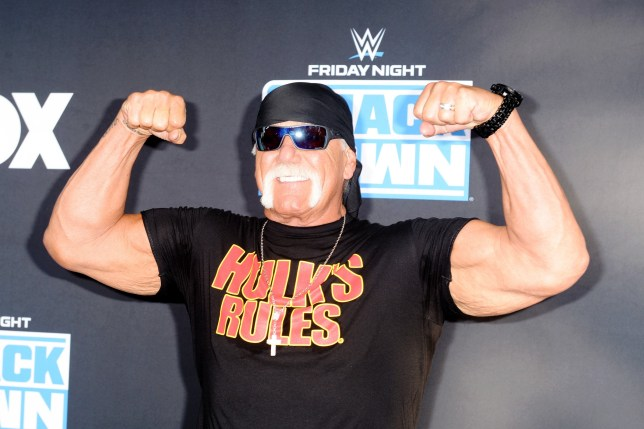 Hulk Hogan poses on blue carpet