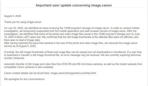 Canon incident notice