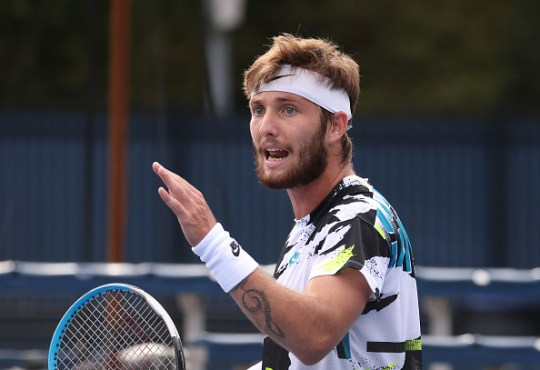 Corentin Moutet of France reacts during his Men's Singles second round match against Daniel Evans of Great Britain on Day Four of the 2020 US Open at the USTA Billie Jean King National Tennis Center on September 3, 2020 in the Queens borough of New York City.