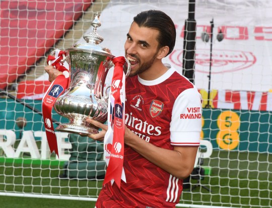 Ceballos celebrates with the FA Cup after Arsenal beat Chelsea