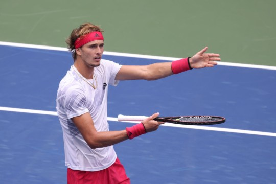 Alexander Zverev of Germany argues a point during his Men's Singles second round match against Brandon Nakashima of the United States on Day Three of the 2020 US Open at the USTA Billie Jean King National Tennis Center on September 2, 2020 in the Queens borough of New York City
