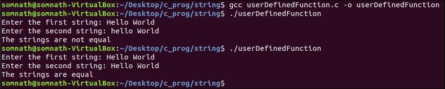 String for comparison: c Programming