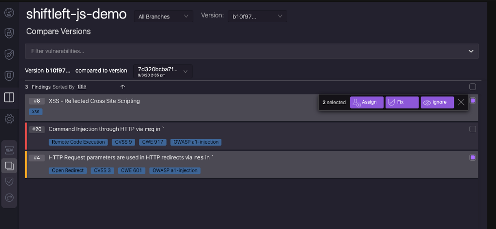 New feature-Ability to compare any two scans for code analysis