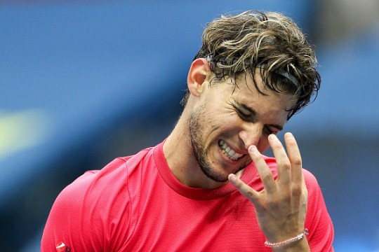 Dominic Thiem of Austria reacts in the third set during his Men's Singles final match against and Alexander Zverev of Germany on Day Fourteen of the 2020 US Open at the USTA Billie Jean King National Tennis Center on September 13, 2020 in the Queens borough of New York City.