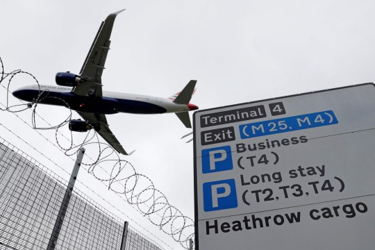 A British Airways passenger jet comes in to land at London Heathrow Airport in west London.