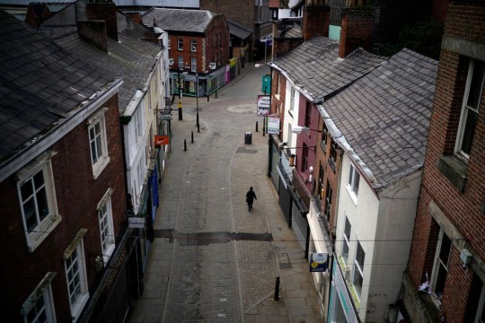 A near deserted Stockport town centre during the pandemic lockdown and the closure of shops, restaurants and businesses on April 01, 2020 in Stockport, United Kingdom