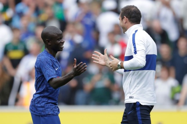 N'Golo Kante and Frank Lampard shake hands during Chelsea's clash with Borussia Monchengladbach
