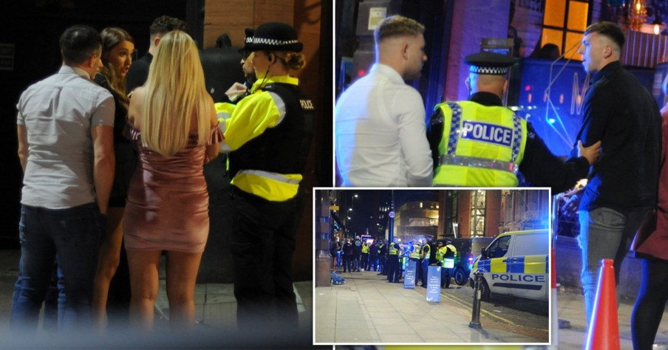 Police talking to people in Manchester