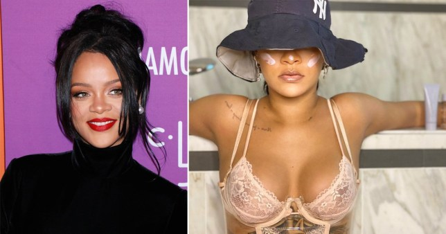 Rihanna pictured with sunscreen over her face