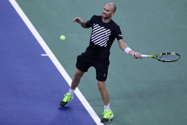 Adrian Mannarino of France returns a volley during his Men's Singles third round match against Alexander Zverev of Germany on Day Five of the 2020 US Open at USTA Billie Jean King National Tennis Center on September 04, 2020 in the Queens borough of New York City.