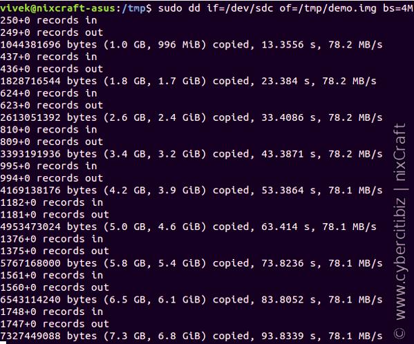 Linux dd Command Show Progress Copy Bar With Status