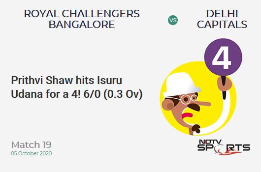 RCB vs DC: Match 19: Prithvi Shaw hits Isuru Udana for a 4! Delhi Capitals 6/0 (0.3 Ov). CRR: 12