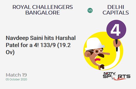 RCB vs DC: Match 19: Navdeep Saini hits Harshal Patel for a 4! Royal Challengers Bangalore 133/9 (19.2 Ov). Target: 197; RRR: 96