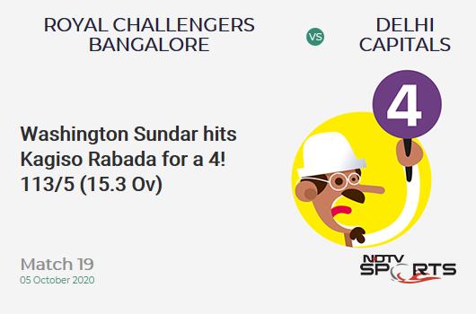 RCB vs DC: Match 19: Washington Sundar hits Kagiso Rabada for a 4! Royal Challengers Bangalore 113/5 (15.3 Ov). Target: 197; RRR: 18.67