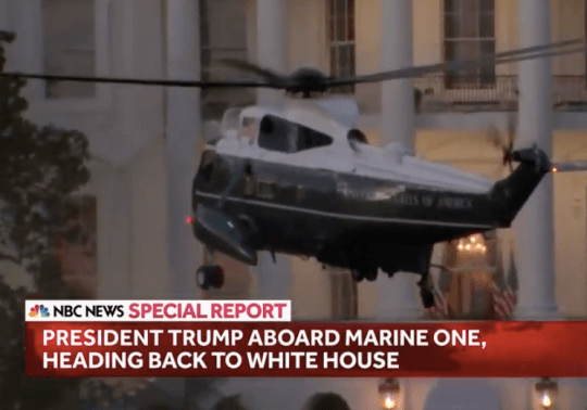 Marine One lands at the White House