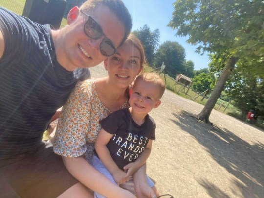 amy williams with her partner samuel mullen and their little boy archie