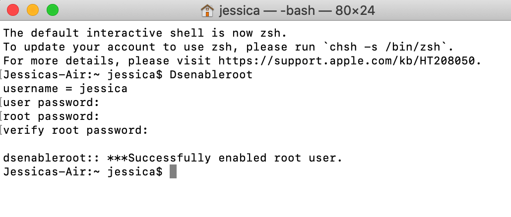 macOS root is now enabled
