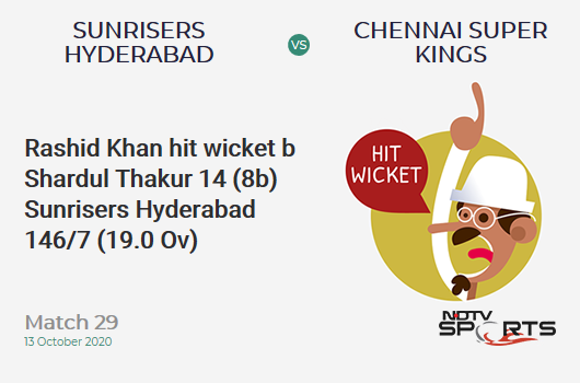 SRH vs CSK: Match 29: WICKET! Rashid Khan hit wicket b Shardul Thakur 14 (8b, 1x4, 1x6). Sunrisers Hyderabad 146/7 (19.0 Ov). Target: 168; RRR: 22.00