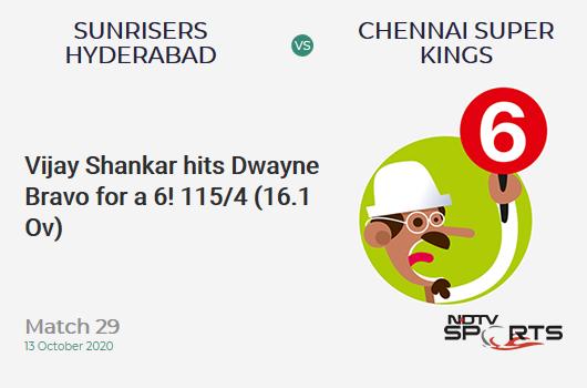 SRH vs CSK: Match 29: It's a SIX! Vijay Shankar hits Dwayne Bravo. Sunrisers Hyderabad 115/4 (16.1 Ov). Target: 168; RRR: 13.83
