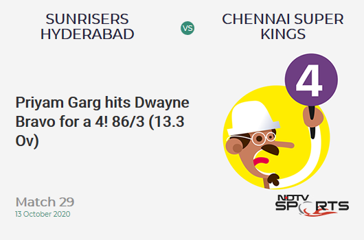 SRH vs CSK: Match 29: Priyam Garg hits Dwayne Bravo for a 4! Sunrisers Hyderabad 86/3 (13.3 Ov). Target: 168; RRR: 12.62