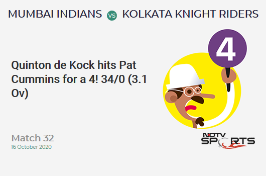 MI vs KKR: Match 32: Quinton de Kock hits Pat Cummins for a 4! Mumbai Indians 34/0 (3.1 Ov). Target: 149; RRR: 6.83