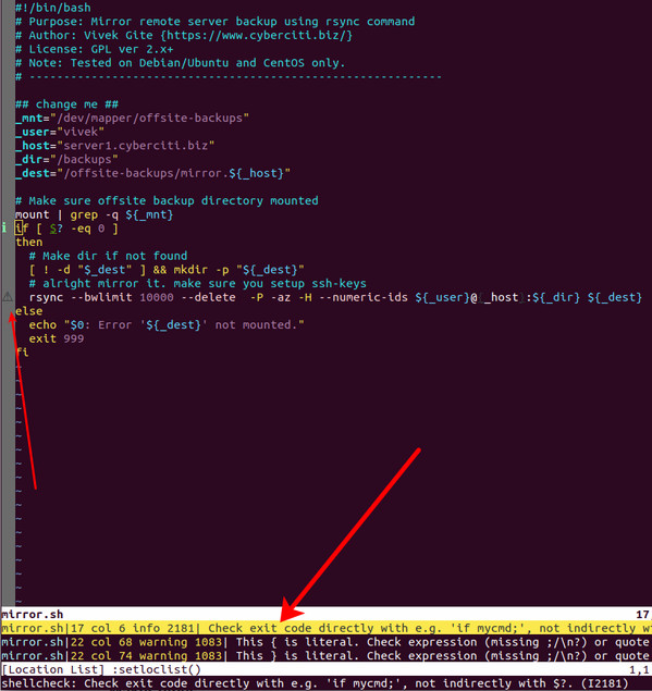 Improve your bash/sh shell script with ShellCheck lint script analysis tool