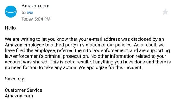 Amazon Fires Employee For Leaking Customer Data – HOTforSecurity