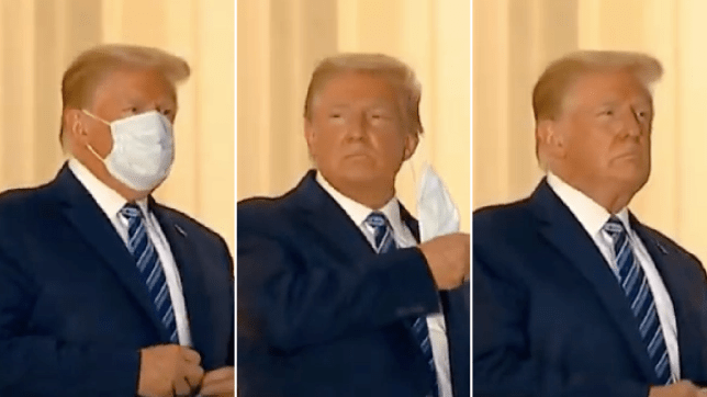 Donald Trump takes off mask
