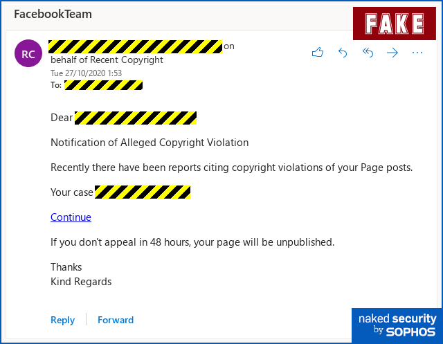 """Facebook """"copyright violation"""" tries to get past 2FA – don't fall for it! – Naked Security"""