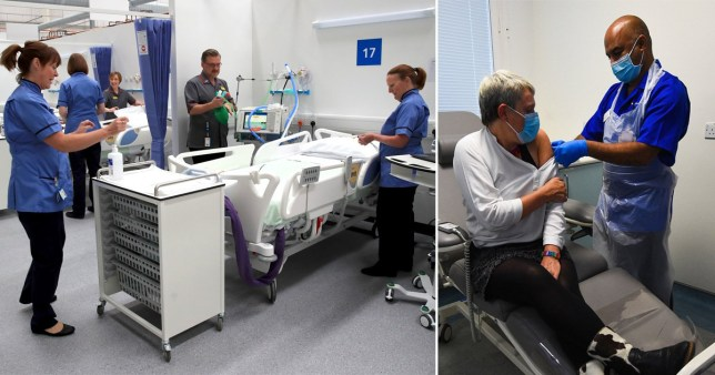 Three health professionals in blue scrubs stand around a hospital bed