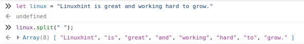 Javascript split – Linux Hint