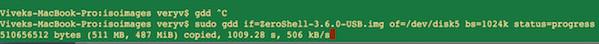Fig.03: GNU dd displaying progress